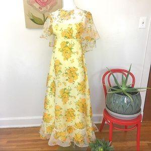 Vintage 60's 70's Caped Floral Chiffon Maxi